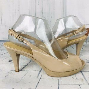 Nine West KAROO Nude Faux Patent Leather Open Toe
